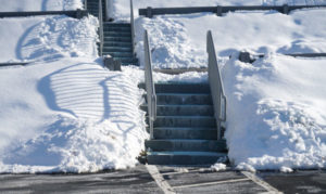 parking lot and stairs cleared of snow