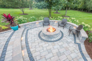 closeup of patio work with fire pit