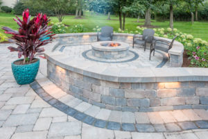 large patio with fire pit and seating