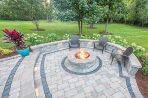 large outdoor fireplace area