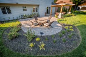 view of yard landscaping and patio