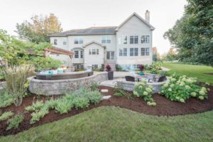 large house with new backyard landscaping