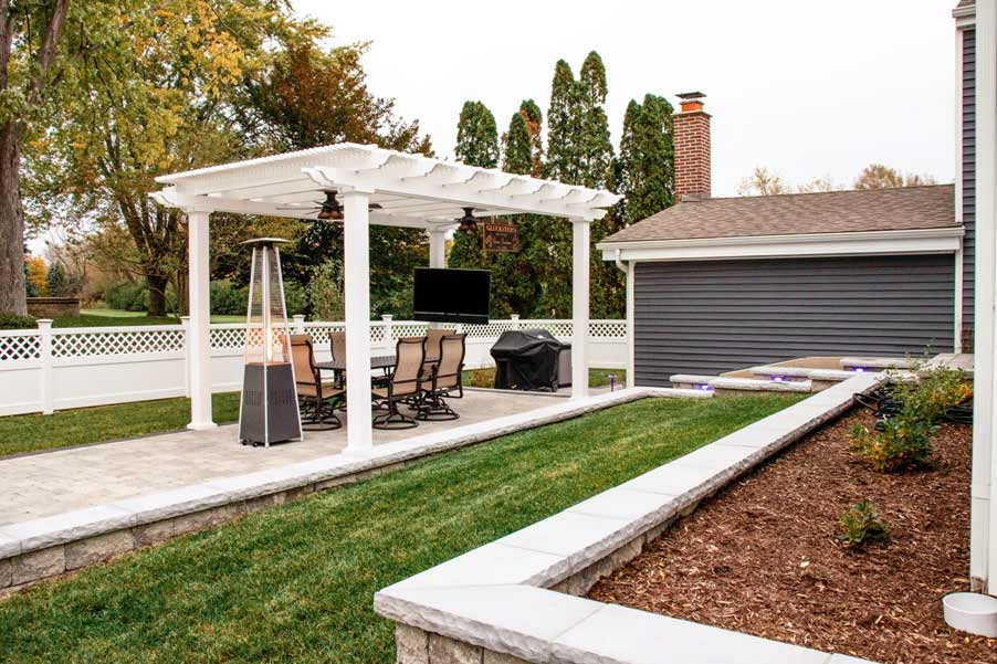 large pergola in backyard
