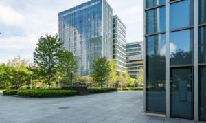 office buildings with outdoor landscaping